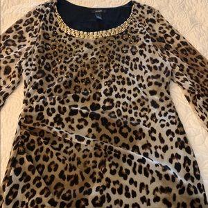 Alfani Leopard Print Lined Blouse - M